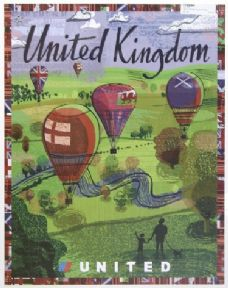 Vintage Travel poster of United Kingdom, Hot Air Balloons